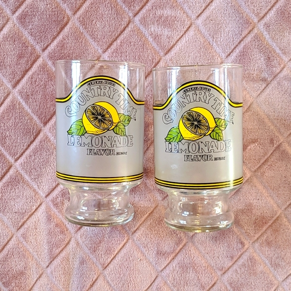Vintage 80s Country Time Lemonade Pedestal Glass